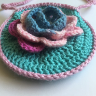 Crochet flower bag mint and dusty rose