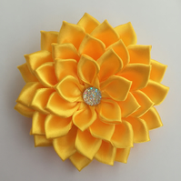 Yellow satin flower hair clip