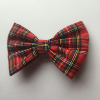 Red tartan fabric hair bow