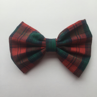 Green and red tartan hair bow