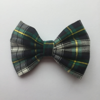White and green tartan hair bow