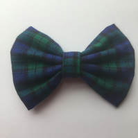 Blue and green tartan hair bow