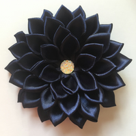 Navy satin flower hair clip