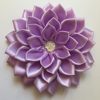 Lilac satin flower hair clip