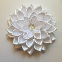 White satin flower hair clip