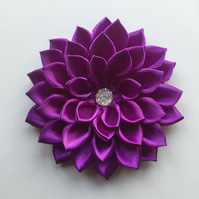 Deep purple satin flower hair clip