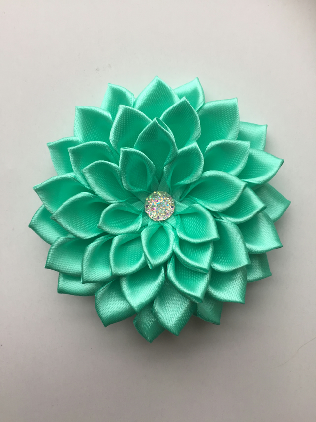 Mint Green Satin Flower Hair Clip Folksy