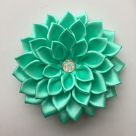 Mint green satin flower hair clip