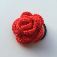 Red crochet rose hair band