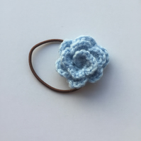 Light blue crochet rose hair band