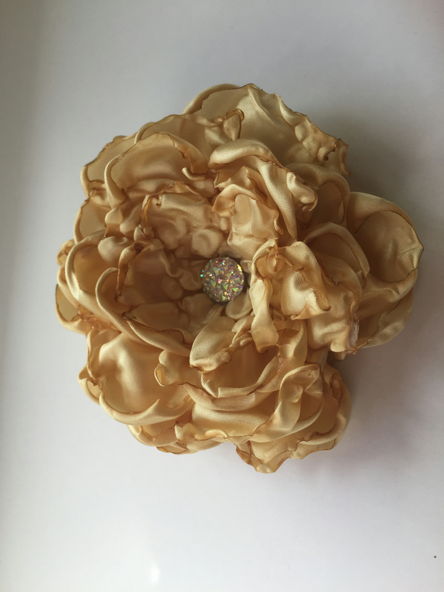 Antique gold bridal hair flower