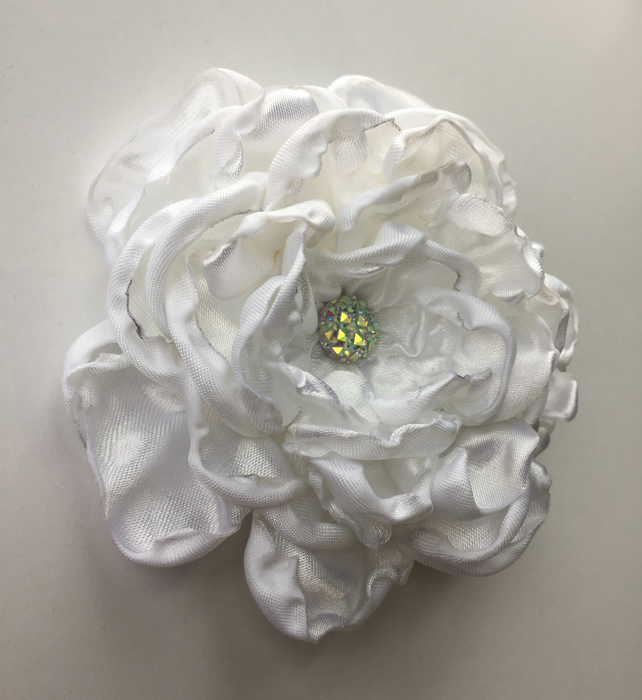 White fabric wedding hair flower