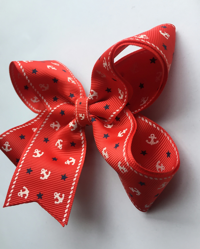 Red double layer nautical hair bow