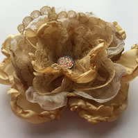 Gold fabric and lace hair flower
