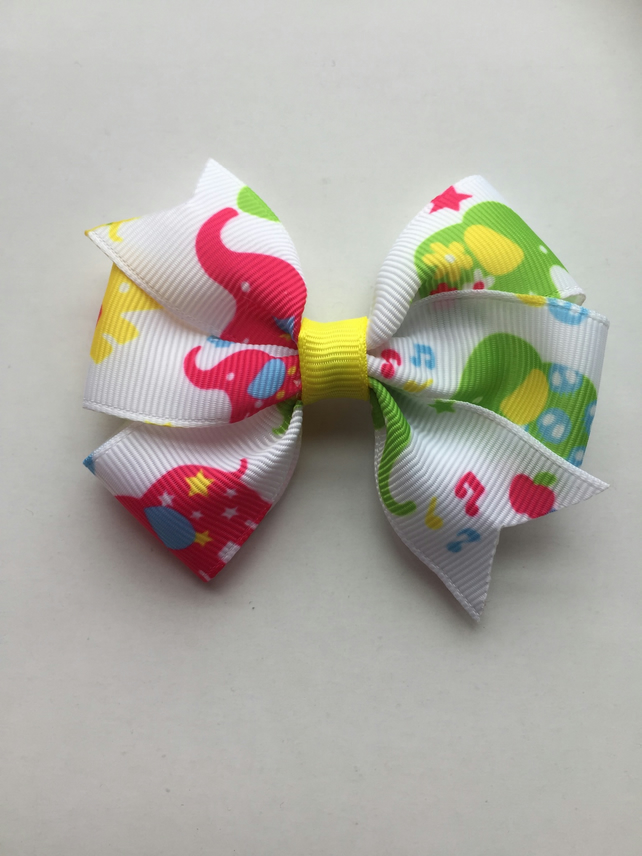 Elephant print pinwheel hair bow small