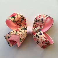 Pink floral hair bow