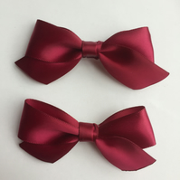 Set of two wine red satin hair bows