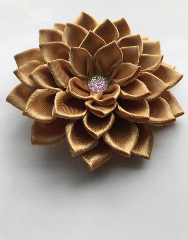 Satin flower hair clip gold