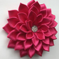 Satin flower hair clip dark pink
