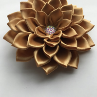 Satin flower wedding hair piece gold