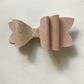 Glitter fabric hair bow pale pink