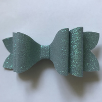 Glitter fabric hair bow slate blue