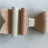 Glitter fabric hair bow peach and white