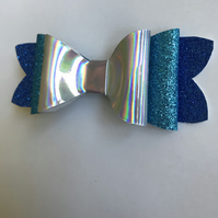 Glitter fabric hair bow silver and blues