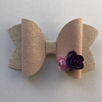 Glitter flower hair bow pink