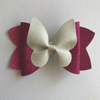 Glitter fabric butterfly hair bow hot pink and white