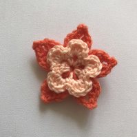 Crochet tropical flower hair clip orange