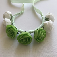 Classical ballet bun wrap flowers green and white