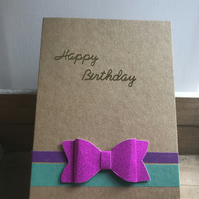 Birthday card pink bow