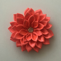 Satin flower hair clip bright apricot
