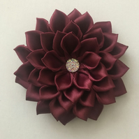 Satin flower hair bow burgundy
