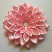 Light pink satin flower hair bow