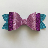 Purples and blue glitter hair bow