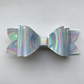 Silver iridescent hair bow
