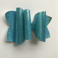 Bright blue large glitter hair bow
