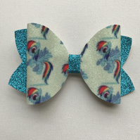Rainbow Dash glitter hair bow
