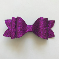 Purple glitter hair bow