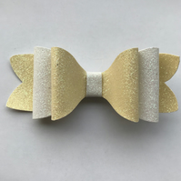 Lemon and white glitter hair bow