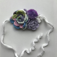 Crochet flower headband purples