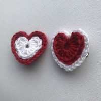 Crochet love heart hair clip set