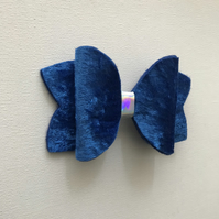 Velvet hair bow royal blue