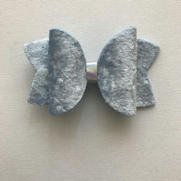 Velvet hair bow ice blue