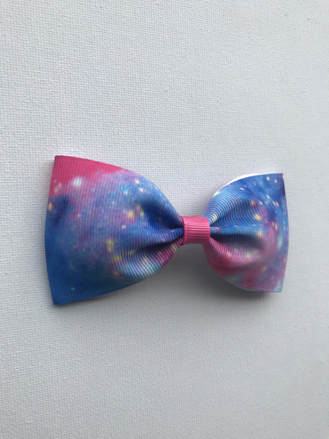 Cosmic galaxy ribbon hair bow
