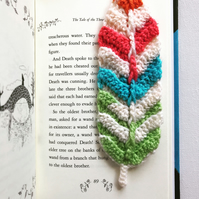 Crochet feather bookmark in brights