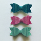 Glitter hair bow clip set in pastels