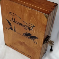 A4 Plus Size. XLARGE LOCKABLE WOODEN MANUSCRIPT STORAGE BOX. For Writers & Poets